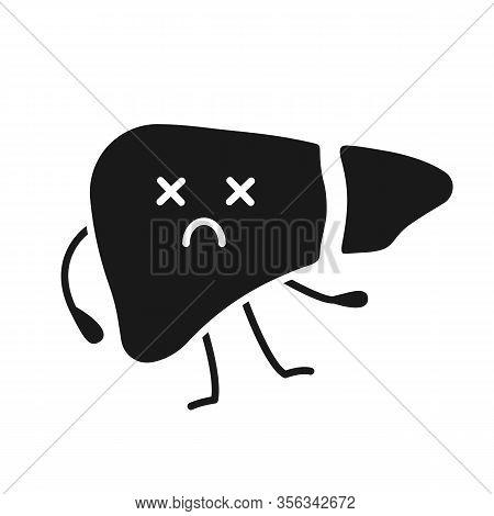 Dead Liver Emoji Glyph Icon. Silhouette Symbol. Hepatitis, Cirrhosis. Unhealthy Digestive Gland. Liv