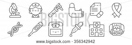 Set Of 12 Medicine Icons. Outline Thin Line Icons Such As Defibrillator, Dropper, Thermometer, Presc