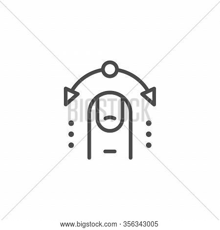 Interactive Control Line Outline Icon Isolated On White. Interaction By Finger. Click, Select Gestur