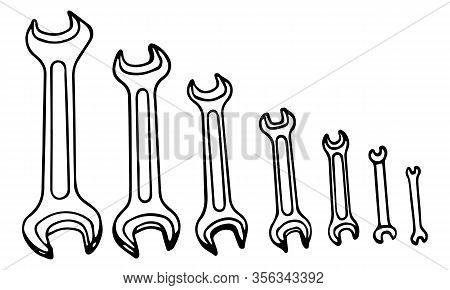 Hand-draw Black Vector Illustration Of Metallic Locksmith Wrenches Tool Set Isolated On A White Back