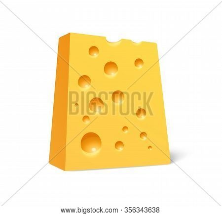 Chunk Of Cheese In Realistic Style Isolated