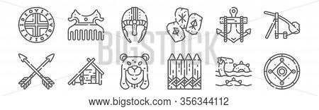 Set Of 12 Viking Icons. Outline Thin Line Icons Such As Shield, Fence, House, Anchor, Helmet, Comb