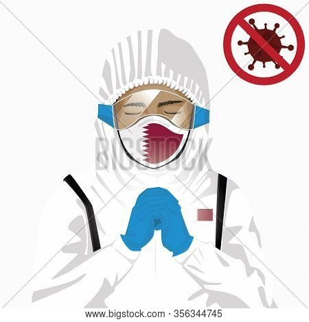 Covid-19 Or Coronavirus Concept. Arabian Medical Staff Wearing Mask In Protective Clothing And Prayi