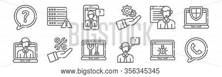 Set Of 12 Tech Support Icons. Outline Thin Line Icons Such As Phone, Customer Support, Settings, Onl