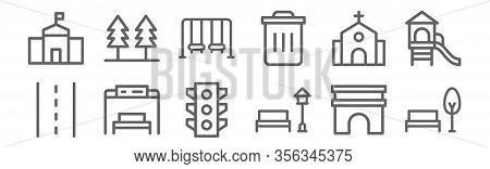 Set Of 12 City Icons. Outline Thin Line Icons Such As Park, Park, Bus Stop, Church, Swing, Trees