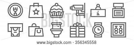 Set Of 12 Mall Icons. Outline Thin Line Icons Such As Earrings, Gift, Shopping Bag, Information, Cup