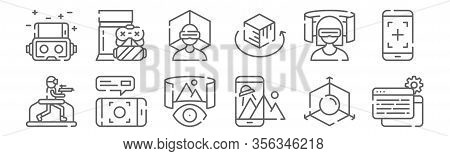 Set Of 12 Virtual Reality Icons. Outline Thin Line Icons Such As Data, Augmented Reality, Virtual Re