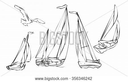Set Of Four Black Silhouette Sailboats, Set Of Sailboat Icons. Vector Graphics