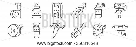 Set Of 12 Handcrafts Icons. Outline Thin Line Icons Such As Caulk, Screwdriver, Brush, Spray Paint,