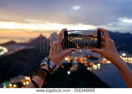 Taking A Photo On A Mobile Phone Camera Of Rio De Janeiro, Brasil
