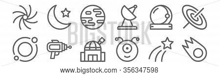 Set Of 12 Space Icons. Outline Thin Line Icons Such As Meteor, Alien, Blaster, Astronaut, Mars, Moon