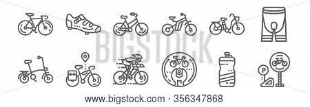 Set Of 12 Bicycle Icons. Outline Thin Line Icons Such As Parking, Fix, Bicycle, Bicycle, Shoes