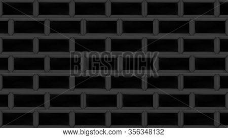 Decorative Brickwork Fills Concrete Wall. Animation. Stylish Brickwork Overlays Empty Concrete Wall