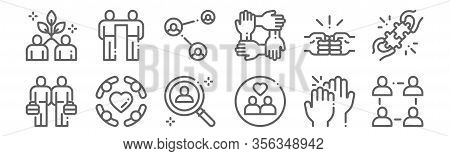 Set Of 12 Friendship Icons. Outline Thin Line Icons Such As Community, Connect, Friendship, Brotherh