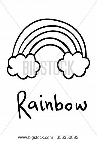 Coloring Pages, Black And White Cute Kawaii Hand Drawn Rainbow Doodles, Lettering Rainbow, Print