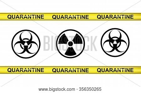 Vector Set Of Weapon Of Mass Destruction Signs And Yellow Tapes Of Quarantine On White Background. P