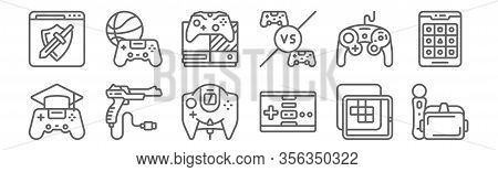 Set Of 12 Gaming Icons. Outline Thin Line Icons Such As Virtual Reality, Gamepad, Shooting Game, Gam