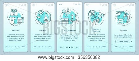 Babysitters Classes Onboarding Mobile App Screen Vector Template. Childcare. Babysitting Training. W
