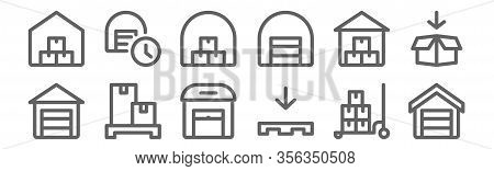 Set Of 12 Warehouse Icons. Outline Thin Line Icons Such As Warehouse, Pallet, Pallet, Warehouse,