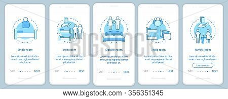 Room Types Onboarding Mobile App Screen Vector Template. Accommodation, Apartment Booking. Single, T
