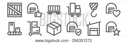 Set Of 12 Warehouse Icons. Outline Thin Line Icons Such As Warehouse, Warehouse, Cart, Hook, Contain