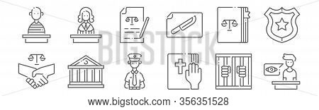 Set Of 12 Law And Justice Icons. Outline Thin Line Icons Such As Witness, Bible, Court, Law, Agreeme