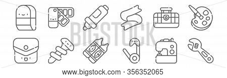 Set Of 12 Handcrafts Icons. Outline Thin Line Icons Such As Wrench, Safety Pin, Screw, Toolbox, Mark