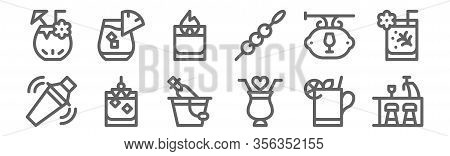 Set Of 12 Cocktails Icons. Outline Thin Line Icons Such As Bar, Cocktail, Cocktail, Bar, Fire Cockta