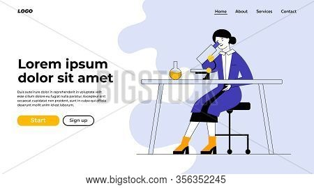 Assistant Doing Lab Research. Woman In White Coat Using Microscope At Table With Flask Flat Vector I