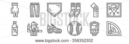 Set Of 12 Baseball Icons. Outline Thin Line Icons Such As Baseball Field, Baseball, Referee, Kneepad