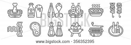 Set Of 12 Bbq And Grill Icons. Outline Thin Line Icons Such As Cutlery, Grill, Steak, Electric Grill