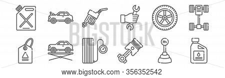 Set Of 12 Car Garage Icons. Outline Thin Line Icons Such As Oil, Piston, Elevator, Wheel, Gas Fuel,