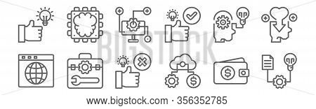 Set Of 12 Seo Icons. Outline Thin Line Icons Such As Project, Process, Toolbox, Process, Process, Ch