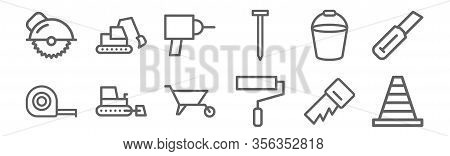 Set Of 12 Construction Icons. Outline Thin Line Icons Such As Cone, Paint Roller, Bulldozer, Bucket,