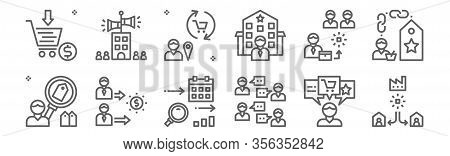 Set Of 12 Customer Engagement Icons. Outline Thin Line Icons Such As User, Word Of Mouth, Advantage,
