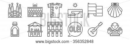 Set Of 12 Tipical Spanish Icons. Outline Thin Line Icons Such As Picasso, Speech Bubble, Chiringuito