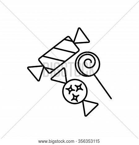 Simple Outline Candy Vector Icon. Candy Symbol.