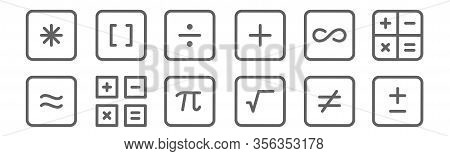 Set Of 12 Math Symbols Icons. Outline Thin Line Icons Such As Plus, Square Root, Math, Infinity, Div