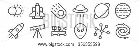 Set Of 12 Space Icons. Outline Thin Line Icons Such As Galaxy, Alien, Telescope, Planet, Comet, Spac