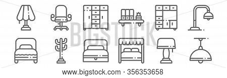 Set Of 12 Furnitures Icons. Outline Thin Line Icons Such As Ceiling Light, Canopy Bed, Coat Stand, C