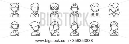 Set Of 12 Call Center Avatars Icons. Outline Thin Line Icons Such As Call Center, Call Center,