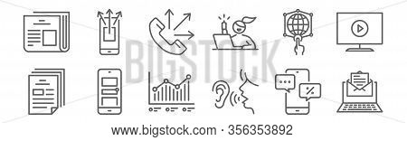 Set Of 12 Advertising Icons. Outline Thin Line Icons Such As Email Marketing, Word Of Mouth, Adverti