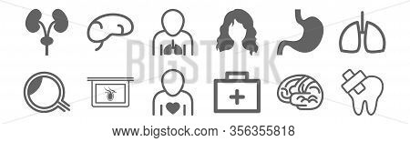 Set Of 12 Body Parts Icons. Outline Thin Line Icons Such As Inju Tooth, Medical Kit, Body Part X Ray