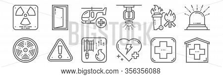 Set Of 12 Emergency Icons. Outline Thin Line Icons Such As Emergency, Healthcare, Alert, Combustible
