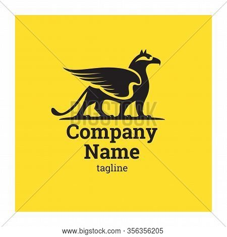 Logo With Griffin. Symbol Of Successful Business Company. Vector Illustration Of Gryphon On Yellow B