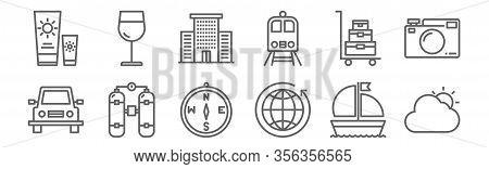 Set Of 12 Travel Icons. Outline Thin Line Icons Such As Cloudy, Worldwide, Scuba Diving, Trolley, Ho