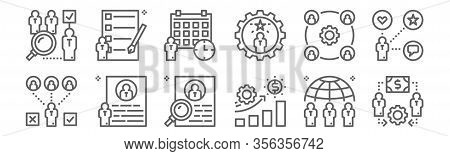 Set Of 12 Recruitment Icons. Outline Thin Line Icons Such As Hiring, Job, Resume, Workforce, Appoint