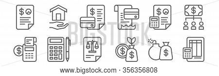 Set Of 12 Accounting Icons. Outline Thin Line Icons Such As Ledger, Profit, Accounting, Accounting,