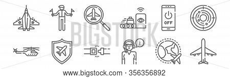 Set Of 12 Aviation Icons. Outline Thin Line Icons Such As Airplane, Air Controller, Shield, Smartpho