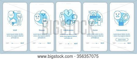 Hard Feelings Onboarding Mobile App Page Screen Vector Template. Grief, Despair, Helplessness, Horro